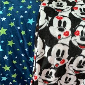 2 pairs of fuzzy pj bottoms Mickey Mouse size M